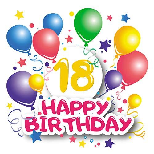 Flaschenetikett 18 Jahre – Happy Birthday, Geschenk zum 18. Geburtstag, personalisiert Sektflaschen, selbstklebender Aufkleber, witziges Geburtstagsgeschenk, Geschenkidee zur Volljährigkeit (bunt)