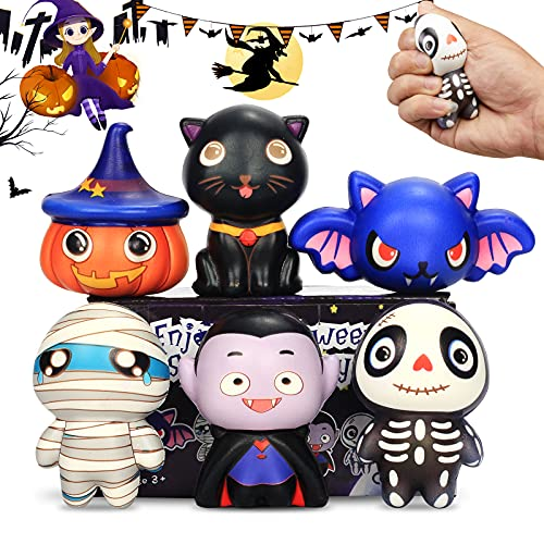 【New】 Halloween Squishies Toys 6 Packs, Slow Rising Soft Exquisite Horror Doll: Pumpkin, Vampire,Black Cat,Mummy,Human Skeleton, Bat,Stress Relief Toy Soft Squeeze Cure Toy Gifts for Girls,Boys,Kids
