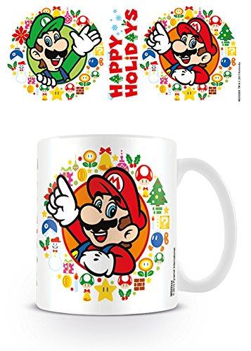 Super Mario MG24933 - Happy Holidays - Mug, Céramique, Multicolore, 11 oz/315 ml