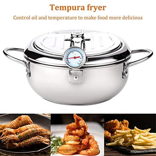 Fritteuse, Antihaftbeschichtung Tempura-Frittiertopf Mit Thermometer Und Deckel Friteuse Temperaturregelung Mini-Frittierpfanne Für Küchenherd