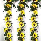 Yyhmkb 3 uds 7,38 pies Girasoles Artificiales Colgantes de Seda de Vid Flores Falsas guirnaldas para decoración de Pared Arco jardín Exterior Interior