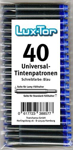 Luxtor Universal Tintenpatronen für Lamy Herlitz Pelikan Reform Online/blau (40 St.)