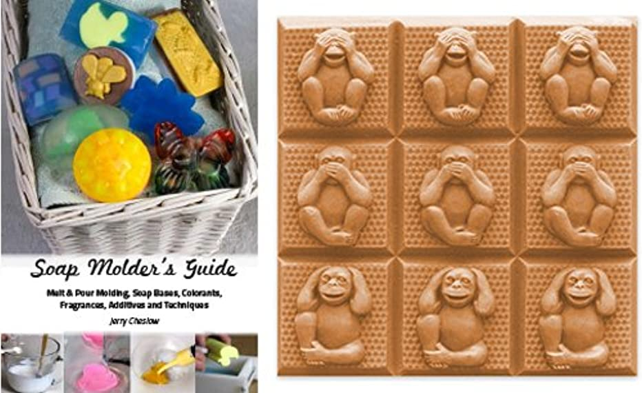 CybrTrayd Three Wise Monkeys Mold in Sealed Poly Bag, with Richly Illustrated 44-Page Soap Molder's Guide