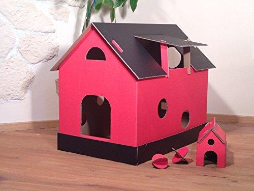 Katzenhaus schwarz/rot aus Wellpappe, Katzenkorb, Katzenhöhle