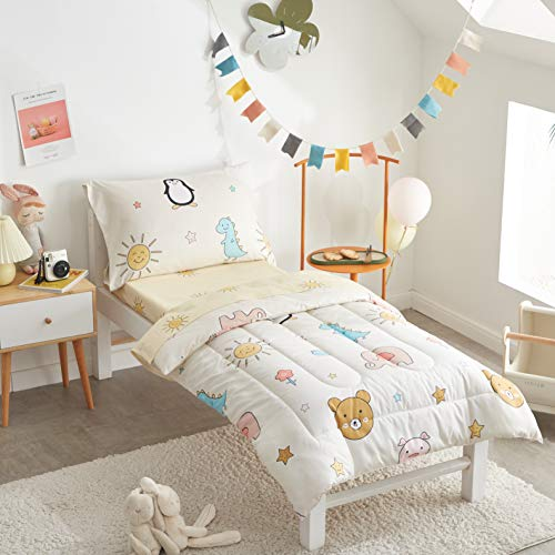 FlySheep 4 Piece Colorful Toddler Bedding Set with Happy Animals Printed for Baby Boys and Girls - Includes Quilted Comforter, Flat Sheet, Fitted Sheet & Pillow Case, Soft & Comfortable Microfiber