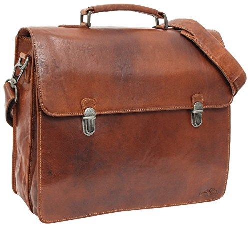 """Gusti Leder studio ''Philipp'' borsa elegante ventiquattore internamente restistente all'acqua per portatile 15,6"""" da lavoro college documenti unisex marrone rosso 2B15-20-2wp"""