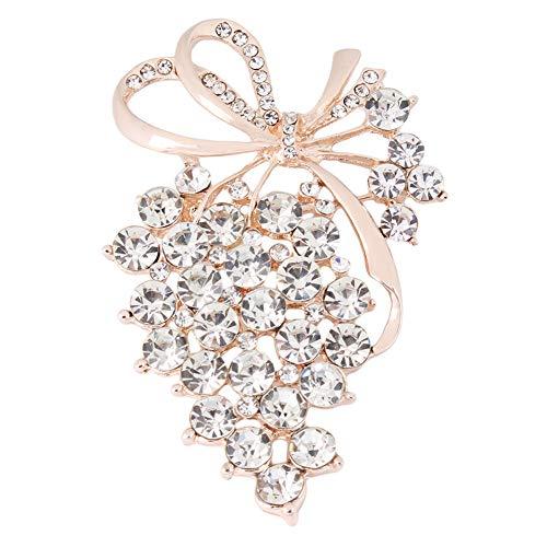 Kyoidy Trauben Broschen Gold Farbe Kristall Brosche Strass Für Hochzeit Brautkleider Hijab Clip Schal Schnalle Stifte,Gold