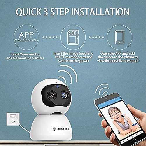 IBS Double Eye high-Definition Night Vision Smart Home Surveillance Camera 10X Zoom 360� Smart Pan Tilt Home Office WiFi Camera Wireless Indoor Security 2MP 1080P