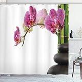 Yaoni Meditation Duschvorhang, Spa Steine mit Orchideen & Bambusstielen Yoga Chakra Bild, Stoff Stoff Badezimmer Dekor Set mit Haken, Fuchsia Green