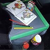 JOM Kindersitz-Reisetisch Kinder Spiel und Esstisch Knietablett Kinder Reisetisch Kindersitz Autotisch PKW Spieltisch mit Netztaschen für Kindersitz schwarz grau grün Neu