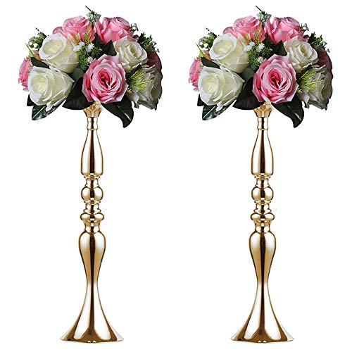 2 50 cm Höhe Metall Kerzenhalter Kerze ständer Hochzeit Mittelpunkt Event Road führen Flower Rack (Gold)