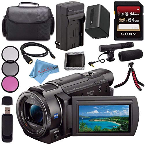 Sony FDR-AX33 FDRAX33 4K Ultra HD Handycam Camcorder + Rechargable Li-Ion Battery + Charger + Sony 128GB SDXC Card + Carrying Case + Flexible Tripod + HDMI Cable + Card Reader + Fibercloth Bundle