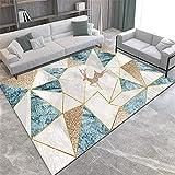 Alfombra Alfombra Chimenea Alfombra Lavable con diseño geométrico Azul marrón grisáceo fácil de Limpiar Decoracion de Salones Room Decor 160X230CM