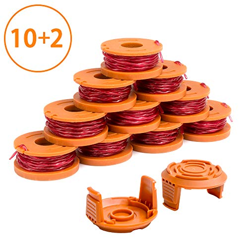 X Home Weed Eater Spool Cap Compatible with Worx WA0010 WG163 WG180 Edger Spools, WA6531 GT Spools Cap Cover 50006531, String Trimmer Replacement Parts Refills, 10ft 0.065 inch (10 Spools, 2 Caps)