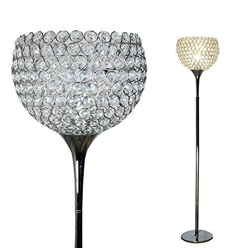 Dellemade Kristall Ball Stehleuchte,Metall Chrom Fertig Stehlampe,Silber