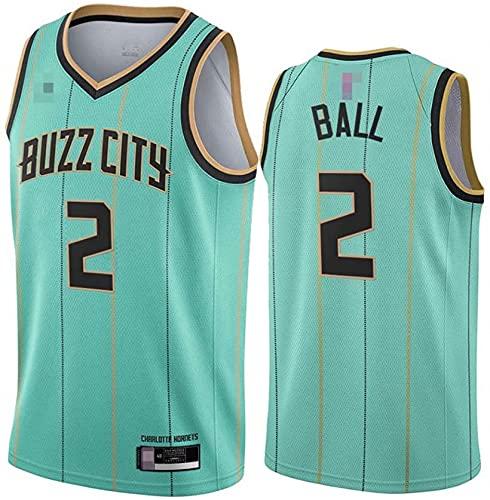 XUECHEN Ropa Jersey Men's, NBA Charlotte Hornets # 2 Lamelo Ball - Uniformes de Baloncesto Camisetas de Deporte sin Mangas clásicas y Camisetas cómodas, Verde, XL (180~185 cm)