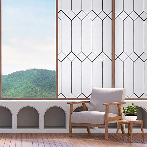 Fensterfolie sebsthaftend Fensterbilder statische Folie Blickdicht 90x200CM Matt Sichtschutzfolie Milchglasfolie Sonnenschutz für Büro, Shop, Zuhause Marokkanischer Stil