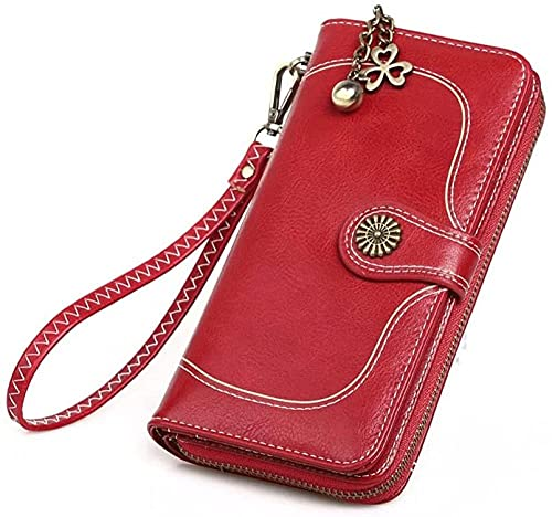 Monedero de la cera de la cera de la cera de la cartera de las mujeres de la vendimia Monedero de las señoras con cremallera con cremallera Bolsa de teléfono móvil de longitud grande-Vino rojo Up