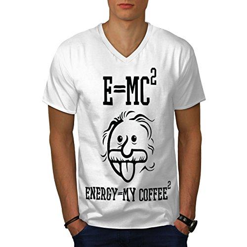 wellcoda Einstein Kaffee MännerV-Ausschnitt T-Shirt Lustig Grafikdesign-T-Stück