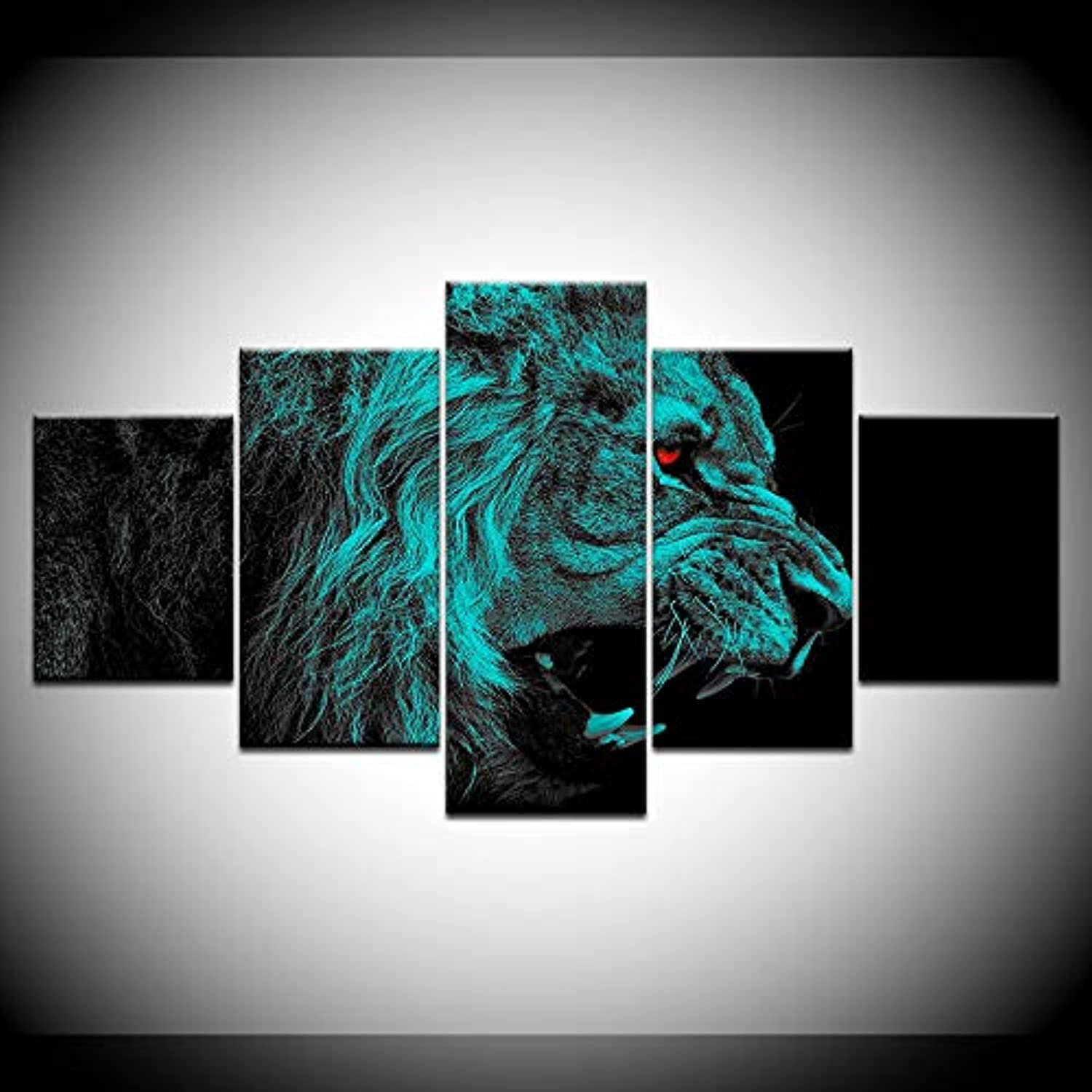 HD Printed Painting Decor Framework Canvas Cloth Decorative Animal Poster 5 Panel Roar Red Eye Lion Wall Art Pictures