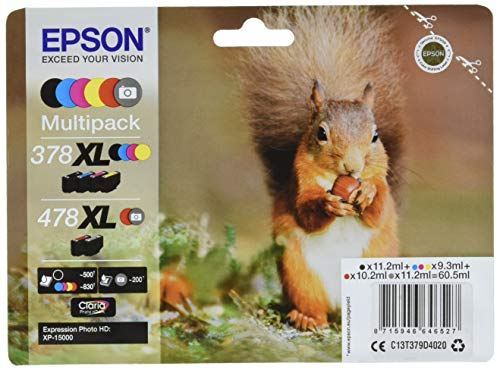 Epson Multipack 6-colours 378XL / 478XL Claria Photo HD Ink, Tintenpatrone Expression Photo HD XP-15000, C13T379D4020, Tintenstrahl Schwarz, Cyan, Magenta, Rot, Gelb