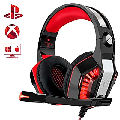 Beexcellent Gaming Headset for PS4 Xbox One PC, Noise-Isolation Headphones with Microphone Stereo Surround Sound for Mac Laptop