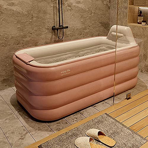 Opvouwbare PVC-Droogbad, Opblaasbaar Bad, Opvouwbaar Bad Voor Koppels, Opblazen Met Één Klik, Groot Drielaags SPA-Zwembad,Pink,160 * 94 * 54cm