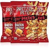 Pretzel Pete Smokey Bacon Cheddar Seasoned Pretzel Pieces, Non-GMO, Small Batch, Bold Flavor, 10.5oz (3 Pack)