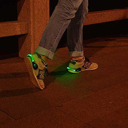 ZKZNsmart LED Shoes Clip Lights USB Charging, Color Steady and Flash Modes Suitable for Running, Jogging, Walking or Biking in The Dark (Green/Pack of 2)