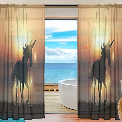 Mnsruu Cortinas de Ventana Transparentes para Sala de Estar Dormitorio Unicornio en Sunset Impreso Voile Poliéster Conjunto de 2 Paneles de Cortina, 213x140cm