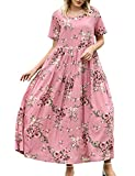 YESNO Women Casual Loose Bohemian Floral Dress with Pockets Short Sleeve Long Maxi Summer Beach Swing Dress (L EJF CR35)