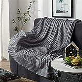 FCXBQ 100% Manta de Punto de algodón, Funda de sofá de algodón Peinado Superior, Manta de Punto de Cable de Textura de suéter de Ganchillo sólido para sofá Cama, Coche, decoración del hogar, 180x2