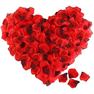 Kuayds 3000 Piezas de Pétalos de Rosa Florecientes Hojas de Rosas Artificiales Artificiales para Bodas Decoración Fiestas Confeti San Valentín (Rojo)