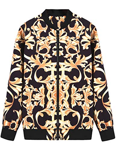 Daupanzees Mens Fashion Noble Long Sleeve Clothes High End Zip-up Print Luxury Bomber Jacket with Ribbed Cuffs (Gold XL)