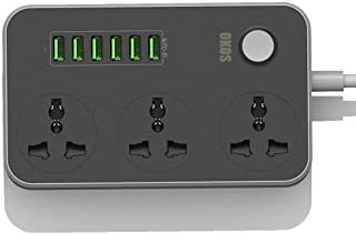 Okos OK2215 Power Strip Surge Protector with 3 Universal International Socket & Smart 6 USB Charging Ports 3.4A || 2 Metre Cord Length || 2500W 10A Rated Power || ABS Plastic Material