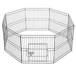 Yaheetech 8 Panel Foldable Metal Puppy Exercise Playpen Pet Fence Rabbit Run Kennel Pet Supplies Indoor/Outdoor