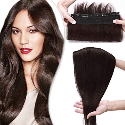 SEGO Extension Capelli Veri Clip Fascia Unica Folta 50cm Clip in Human Hair Extensions 100% Remy con 5 Clips 3/4 Full Head - #2 Marrone Scuro 95g