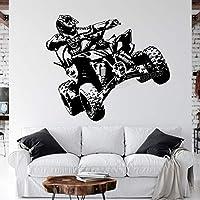 クワッドバイク四輪車レースモーター四輪ATVオートバイライダーウォールステッカービニールデカールボーイファン寝室リビングルームクラブスタジオ家の装飾壁画