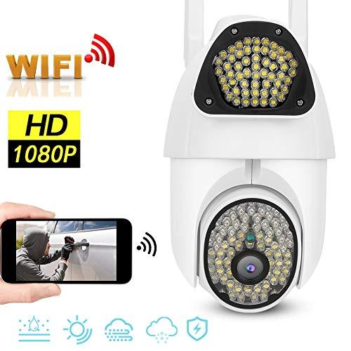 Full HD 1080P Überwachungskamera Wasserdichte PTZ-Kamera für den Außen- und Innenbereich - Nachtsicht, Ton-Licht-Alarm, APP-Hotspot-Monitor für IOS/Android, Unterstützung der 64G Memeory Card(EU)