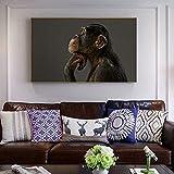 ganlanshu Pintura sin Marco Monkey Wall Art Lienzo decoración de la Imagen póster e Impresiones decoración de la Sala de estarZGQ4153 30X55cm