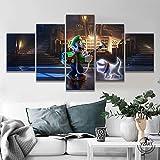 SILUYU Luigi Mansion 3 Spiele Poster Kunstwerk Leinwand Gemälde Mario Bro Bild Ölgemälde Horror Spiel Poster Wanddekor Gerahmt Kleine Größe