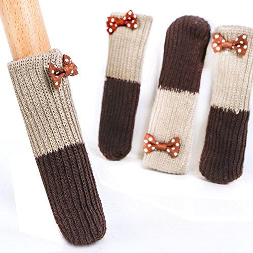 Reze 16/pz sedia tavolo calze di lana a maglia 4/set con elegante papillon sedia gamba per pavimento in legno proteggi-pavimento mobili calzini maniglia copertura