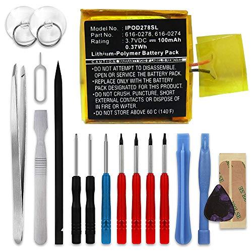 subtel® Qualitäts Akku kompatibel mit Apple iPod Shuffle 2 Gen. (! 1GB !) (A1204) / iPod Shuffle 3 Gen. (A1271) - 616-0274 616-0278 (100mAh) + Werkzeug-Set Ersatzakku Batterie