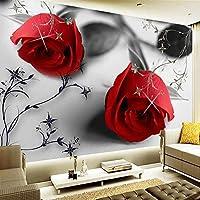 写真壁紙3Dカスタムピンクフラワーレッドラージウォールアート壁画ペイントリビングルーム防水ルーム粘着壁紙