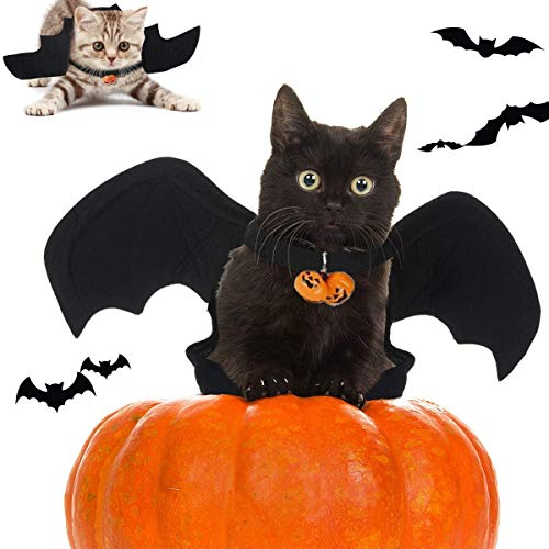 Pet Halloween Bat Wings Disfraz,Pet Costume Bat Wings,Disfraz De Gato con Campana,Viene Con 2 Campanas De Patrón De Calabaza