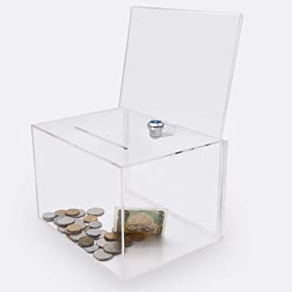 Acrylic Donation Box with Lock, Large Ballot Box with Sign Holder, Clear Suggestion Box Storage Container for Voting, Char...