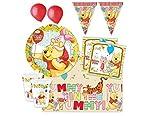 IRPot - Kit Compleanno Coordinato Completo TAVOLA Bambini Winnie The Pooh 53 Pz
