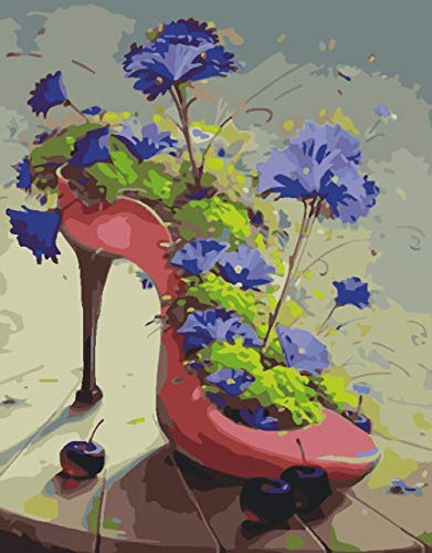 No-brand Ölgemälde Malen nach Zahlen - Flower High Heels - DIY Malen nach Zahlen Kreative Geschenke für Erwachsene, Kinder und Anfänger auf Leinwand gezeichnet - 40x50cm (Mit Rahmen)