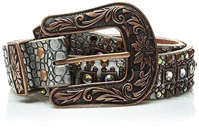 Nocona Belt Co. Women's Silver Croc Copper Square Stud Belt, Extra Large