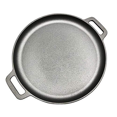 GCE 30 cm / 33 cm / 35 cm sartén de Hierro Fundido para Asar Carne asador de Carne Redonda sin Revestimiento Olla de Cocina Pizza panqueques planchas Negro